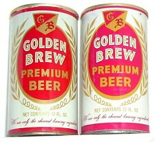 1970's CALIFORNIA STRAIGHT STEEL BEER CANS 2 VARIATIONS GOLDEN BREW LOS ANGELES