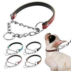 Martingale Dog Collar Leather Half Check Choke Collars Chain Pet Training S M L