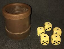 "Vintage Luckicup ~ Brown Vinyl Cup ~ Looks and Feels like Leather ~ 5 1"" Dice!!"