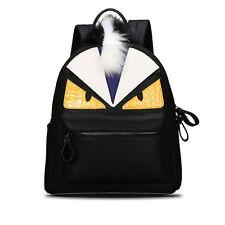Cartoon Monster Eye Women Leather Backpacks School Bags Teenagers Girls Rucksack