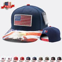 Snapback Hat American Usa Flag Ball Baseball Cap Trucker Style Visor Curved Bill