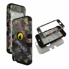 For Apple ipod Touch 5 Hybrid BlkStrip Camo  Hard Soft Cover Case