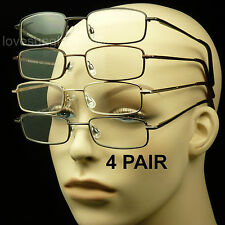 4 PAIR READING GLASSES LENS SPRING HINGE PACK LOT METAL POWER MEN WOMEN UNISEX