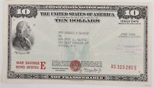 $10 War Savings Bond Series E June 1945 Uncancelled Morgenthau Schwan 231a1 Rare