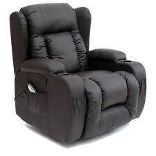 Caesar Brown Winged Leather Recliner Chair Rocking Massage Swivel Heated Gaming