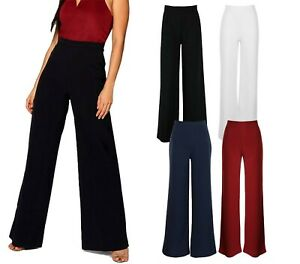 Womens Wide Leg Palazzo Trousers Elasticated High Waist Baggy Flared Pants 8-18