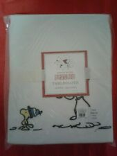 Pottery Barn  Kids  PEANUTS Snoopy Christmas Tablecloth Embroidered NEW
