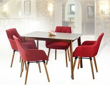 Modern Set of 5 Rectangular Wooden Medium Brown Table with 4 Alba Armchairs Red