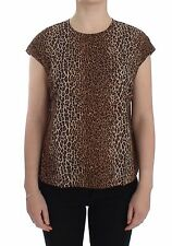 NWT $280 DOLCE & GABBANA Brown Leopard Print Cotton Blouse T-shirt IT42/ US8 / M