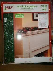 HOLIDAY TIME PRE-LIT PINE ARTIFICIAL CHRISTMAS GARLAND MULTI LIGHTS 18 ft