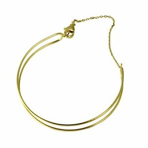 14K YELLOW GOLD OVER 925 STERLING SILVER OPEN BAR BANGLE BRACELET / 8''
