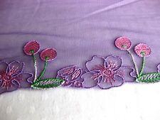 Feine Spitze mit Stickerei, flieder-rosa-grün, 13 cm breit  S29.2