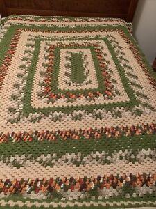 """Handmade Crocheted Afghan Throw Blanket Beige Green Multi 70"""" X 80"""" Vintage"""