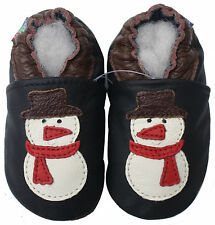 carozoo snowman black 3-4y soft sole leather toddler shoes