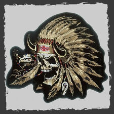 INDIAN CHIEF SKULL  EMBROIDERED 5 INCH MC  BIKER PATCH