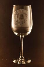 New! Etched English Bulldog on Elegant White Wine Glasses - Set of 2