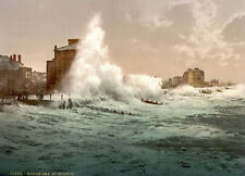 "PS49 Vintage 1890's Photochrom Photo - Rough Sea At Bognor - Print A3 17""x12"""