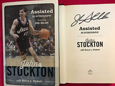SIGNED JOHN STOCKTON  Assisted,An Autobiography HCDJ 1ST/1ST UTAH JAZZ HOF WOW!