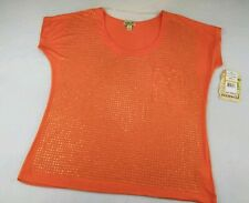One World Womens Top Bling Studs Orange Short Sleeve Rayon Spandex Size Small