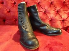 Vintage Edwardian Black Leather Button Boots Granny Boots Victorian