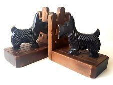 Vintage Pair of Carved Wood Scottish Terrier Book Ends