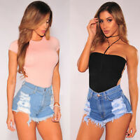 Womens Destroyed Ripped  High Waisted Denim Shorts Jeans Hot Distressed Pants