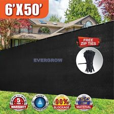 Black 6'x50' Feet Fence Windscreen Privacy Screen Shade Cover Fabric Mesh Garden