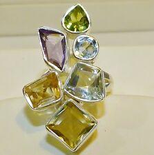 GENUINE! 8.96cts! Green Amethyst & Multi-Gemstone Ring in Solid Sterling 925!!