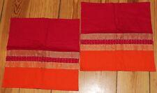 2 Kissenbezüge aus Indien Pailletten pink orange gold 34,5 x 34,5