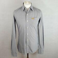 Superdry Mens Shirt Grey Size M Cotton Longsleeve Chest Pocket Patterned