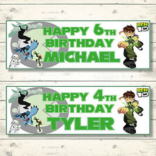 2 PERSONALISED BEN 10 BIRTHDAY BANNERS - ANY NAME ANY AGE - 3FT X 1FT