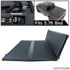 Lock Hard 5.7ft Bed Tri-Fold Tonneau Cover Black Fit For Dodge Ram 1500 2009-17