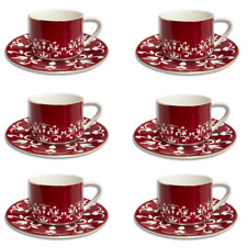 12 Piece Turkish Coffee Cup and Saucer (6 Sets)-Red