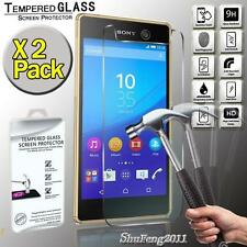 2 Pack Genuine Tempered Glass Film Screen Protector For Sony Xperia M5 Dual