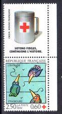 FRANCE TIMBRE CROIX ROUGE AVEC VIGNETTE 2783 ** MNH D ENTRAIDE STRASBOURG - 1992