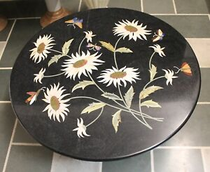 marble top coffee table, marble top dining table sunflower inlay black madras st