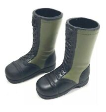 """1 PAIR 21ST CENTURY TOYS GREEN MILITARY JUNGLE BOOTS 1/6TH SCALE OR 12"""" FIGURES"""