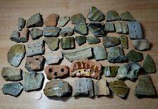 5 grandi Medievale frammenti di ceramica. Inghilterra trovato Brocca Vaso Ciotola. Verde Smalto Ware.