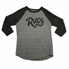 New listing RVCA Surf Skate Men's Medium Baseball T-Shirt Mid Sleeve Gray Black Cotton Blend