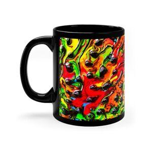 Black Coffee Mug 11oz Colorful Stained Glass Design Trippy Hippie