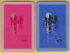 2 Single VINTAGE Swap/Playing Cards SAIL BOATS MOONLIGHT Gold/Silver