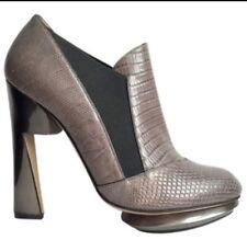 Nicholas Kirkwood Grey Lizard Platforms Shoes Heels Boots 39.5 EU 6.5 UK
