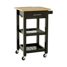 Black Wooden Kitchen Trolly Dining Serving Food Drink Storage Island Cart New