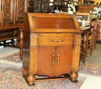 English Antique Oak Art Deco Front Drop Desk