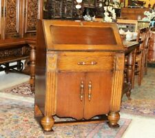 English Antique Oak Art Deco Front Drop Desk