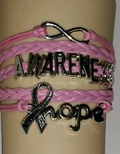 BREAST CANCER,AWARENESS-HOPE,INFINITY,LEATHER ADJUSTABLE BRACELET-PINK-#45