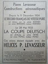6/1933 PUB PIERRE LEVASSEUR AERONAUTIQUE HELICE COUPE DEUTSCH RECORD VITESSE AD
