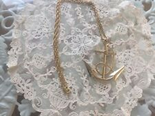 "Vintage ANCHOR PENDANT Gold Tone 24"" Chain Necklace"