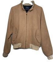 Vtg Polo Ralph Lauren Mens Beige Suede Bomber Jacket Flannel Lined Size L USA