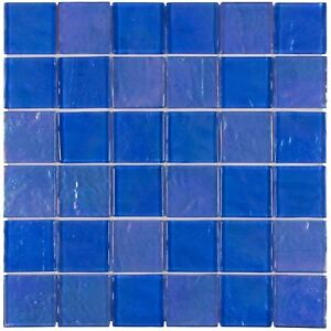 Classic Uniform Squares Blue Glossy Glass 50X50MM Backsplash Tile Wall MTO0078